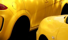 Yellow car lateral abstract Royalty Free Stock Images