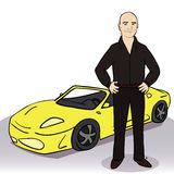 Yellow car and man. Vector illustration Royalty Free Stock Photography