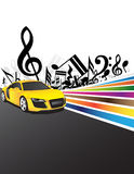 Yellow car and music. Background Royalty Free Stock Images