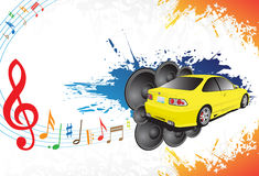 Yellow car and music. Yellow car and abstract music background Royalty Free Stock Photos