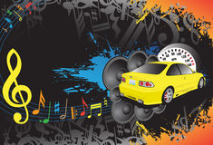 Yellow car and music. Yellow car and abstract music background Royalty Free Stock Image