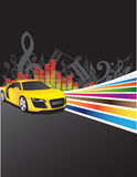 Yellow car and music background Stock Images