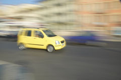 Yellow car in Nice, France Royalty Free Stock Photos