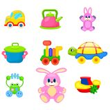 Colorful Toys for Preschoolers Illustrations Set Stock Photo
