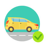 Yellow Car In Round Frame, Insurance Company Services Infographic Illustration Royalty Free Stock Photo