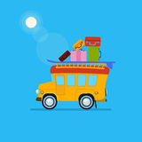 Yellow Car Side View With Heap Of Luggage. Vector. Yellow Car Side View With Heap Of Luggage. Cute Vector Illustration Stock Photos