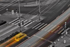 Yellow car stops Royalty Free Stock Images