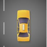 Yellow car, taxi. Top view. Stock Image