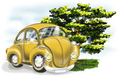 Yellow Car & Tree. Cartoon illustration of a yellow color car and a tree in the background Royalty Free Stock Image