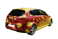 Yellow car tunning rear view. Picture of a yellow car painted on white background Royalty Free Stock Images