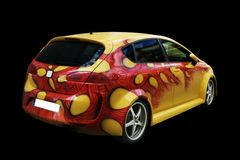 Yellow car tunning rear view. Picture of a yellow car painted on black background Royalty Free Stock Images
