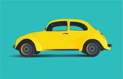 Yellow car, vector illustration retro vintage blue stock illustration