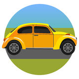 Yellow car. Vector illustration of a yellow car. Parking on the road royalty free illustration