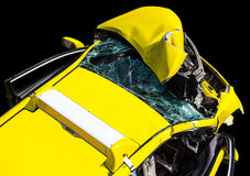 Yellow car was demolished Royalty Free Stock Photos