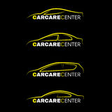 Yellow car wash center line logo 4 style on black background vector illustration
