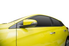 Yellow Car windows and side mirror. Yellow Car windows and side mirror isolated on white background Stock Photos