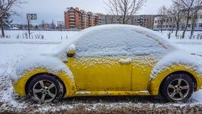 Yellow car in winter Stock Image