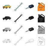 Yellow car, wrench, ignition key, canister of engine oil. Car and accessories set collection icons in cartoon black Royalty Free Stock Image