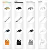 Yellow car, wrench, ignition key, canister of engine oil. Car and accessories set collection icons in cartoon black. Monochrome outline style vector symbol Stock Photo