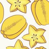 Yellow carambola seamless pattern Stock Image