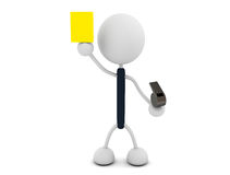 Yellow card. 3d render illustration.Holding a yellow card Royalty Free Stock Photo