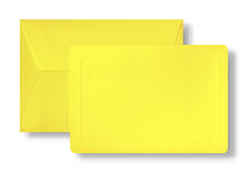 Yellow card and envelope. Royalty Free Stock Photography