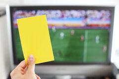 Yellow card football punishment Royalty Free Stock Image