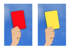 Yellow card red card Royalty Free Stock Photos
