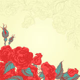 Yellow card with roses Royalty Free Stock Photos
