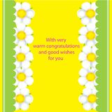 Yellow card with white flowers Stock Photo