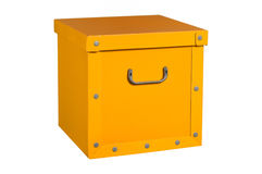 Yellow cardboard box, isolated. Royalty Free Stock Photography