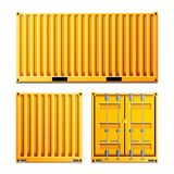 Yellow Cargo Container Vector. Realistic Metal Classic Cargo Container. Freight Shipping Concept. Logistics Stock Image
