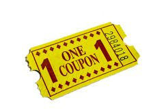 Yellow Carnival Admission Movie Ticket. Yellow coupon ticket used at amusement parks, carnivals and movie theaters for admission or prizes isolated on white stock images