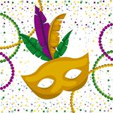 Yellow carnival mask and colorful feathers and necklaces with confetti background. Vector illustration Stock Photography