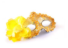 Yellow carnival mask isolated on white Stock Images