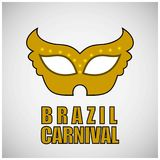 Yellow carnival mask and typography with black outline on grey b. Ackground. For web design and application interface, also useful for infographics. Vector Royalty Free Stock Photos