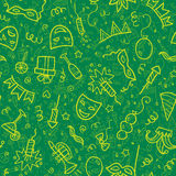 Yellow carnival symbols in doodle style on green. Background, vector seamless pattern tile Royalty Free Stock Images