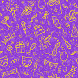 Yellow carnival symbols in doodle style on violet. Background, vector seamless pattern tile Royalty Free Stock Image