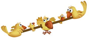 Yellow cartoon birds. Row of adult and young yellow cartoon birds perched on pole, isolated on white background royalty free illustration