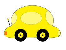 Yellow Cartoon Car Royalty Free Stock Image