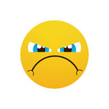 Yellow Cartoon Face Angry People Emotion Icon. Flat Vector Illustration royalty free illustration