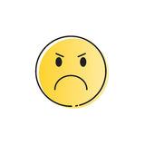 Yellow Cartoon Face Angry People Emotion Icon. Vector Illustration royalty free illustration
