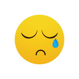 Yellow Cartoon Face Cry Tears People Emotion Icon. Flat Vector Illustration Stock Photos