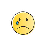 Yellow Cartoon Face Cry Tears People Emotion Icon Royalty Free Stock Photography