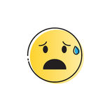 Yellow Cartoon Face Cry Tears People Emotion Icon Stock Image