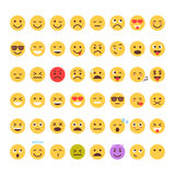 Yellow Cartoon Face Set Emoji People Different Emotion Icon Collection. Flat Vector Illustration stock illustration