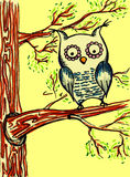Sketched yellow cartoon owl on the tree branches vector Stock Photos