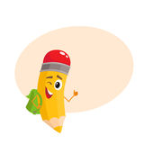 Yellow cartoon pencil with backpack winking and giving okay Stock Photos