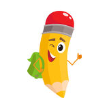 Yellow cartoon pencil with backpack winking and giving okay Royalty Free Stock Images