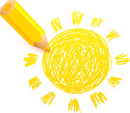 Yellow cartoon pencil with doodle sun Stock Photo